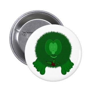Green Holly Tie Pom Pom Pal Button