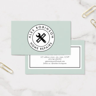 Green home repair spanner and ruler business card