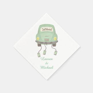 Green Honeymoon Car Wedding Disposable Napkins
