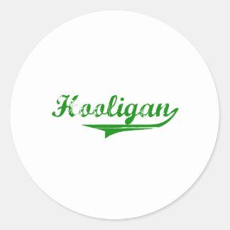 """Green """"Hooligan"""" design Classic Round Sticker"""