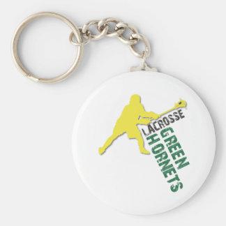 Green Hornet Boys LAX Basic Round Button Key Ring