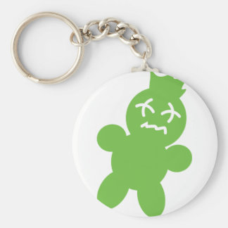 green horror doll icon basic round button key ring