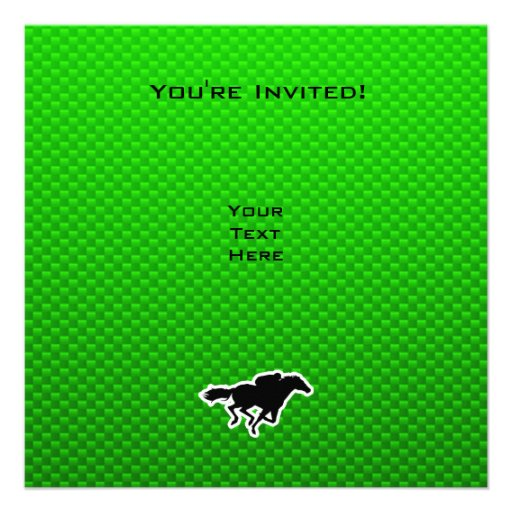 Green Horse Racing Personalized Invitations