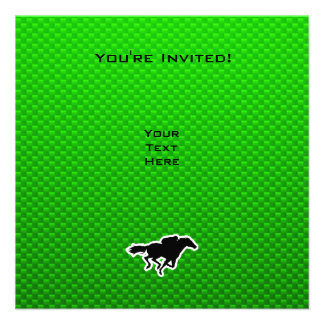Green Horse Racing Personalized Invitation