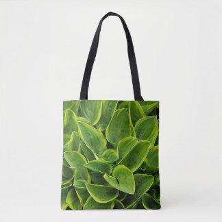 Green hosta plant leaves tote bag