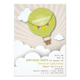 Green Hot Air Balloon & Clouds Kids' Birthday 13 Cm X 18 Cm Invitation Card