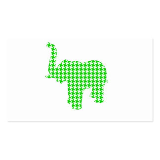 Green Houndstooth Elephant Business Card