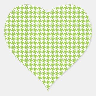 Green Houndstooth Heart Sticker