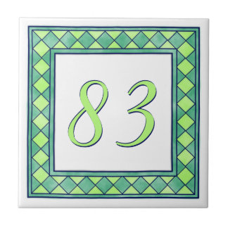 Green House Number Small Square Tile