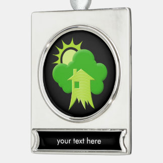 Green House Silver Plated Banner Ornament
