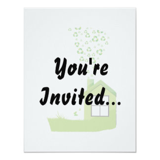green house with recycle sign smoke eco design.png 11 cm x 14 cm invitation card