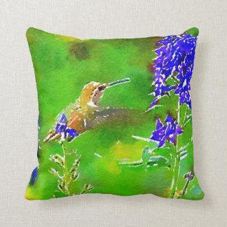 Green hummingbird & purple blue delphinium flowers cushion