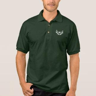 Green hunting polo shirt   custom deer antler logo