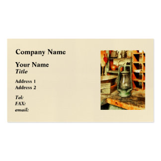 Green Hurricane Lamp In General Store Business Cards