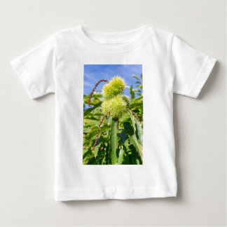 Green husks and leaves of sweet chestnut tree baby T-Shirt