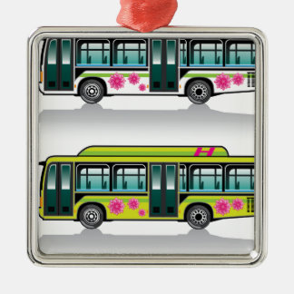 Green Hybrid Bus vector Metal Ornament