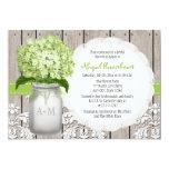 Green Hydrangea Monogram Mason Jar Bridal Shower 13 Cm X 18 Cm Invitation Card