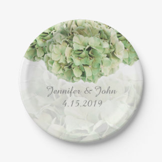 Green Hydrangea Wedding Collection Paper Plate