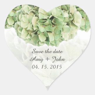 Green hydrangea wedding favor tags hydrangea2 heart sticker