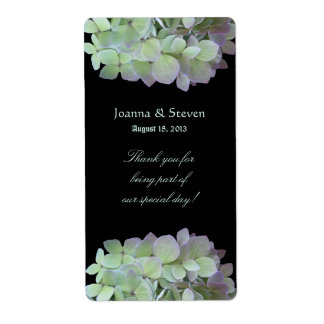 Green Hydrangeas Wine Label, Black