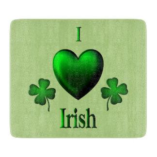 Green I Heart Irish Cutting Board