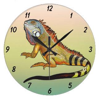 green iguana large clock