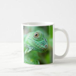 Green Iguana Lizard Reptile On Leaf Mug