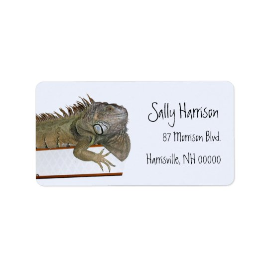 Green Iguana Return Address Label Template