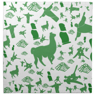 Green images of South America Printed Napkin
