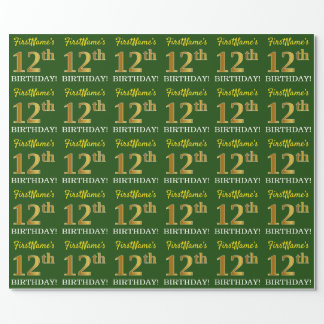 "Green, Imitation Gold Look ""12th BIRTHDAY"" Wrapping Paper"