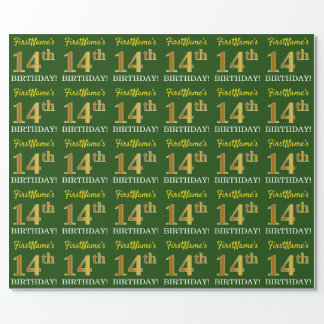 """Green, Imitation Gold Look """"14th BIRTHDAY"""" Wrapping Paper"""