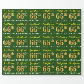 """Green, Imitation Gold Look """"66th BIRTHDAY"""" Wrapping Paper"""