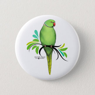 Green Indian Ringneck Parrot 6 Cm Round Badge