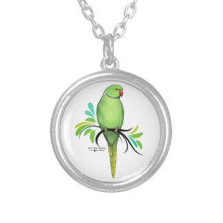 Green Indian Ringneck Parrot Silver Plated Necklace