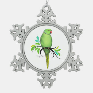 Green Indian Ringneck Parrot Snowflake Pewter Christmas Ornament