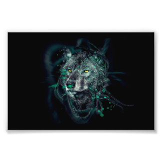 Green indian wolf photographic print