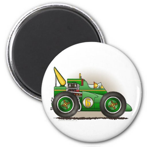 Green Indy Race Car Magnets