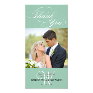 GREEN INITIAL SCRIPT WEDDING THANK YOU PHOTO CARD