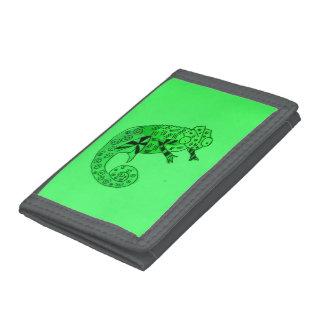 Green ink chameleon tri-fold wallet