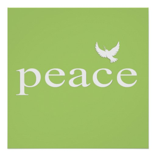 Green Inspirational Peace Quote Poster