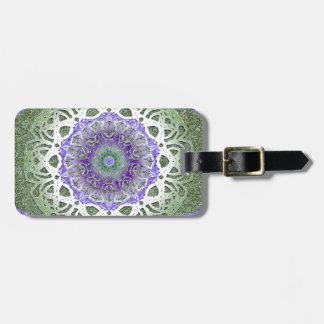 Green Iris Mandala Luggage Tag