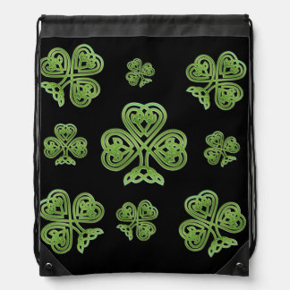 Green Irish Celtic Knot Clover Backpacks