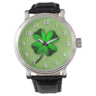 Green Irish Clover Watch