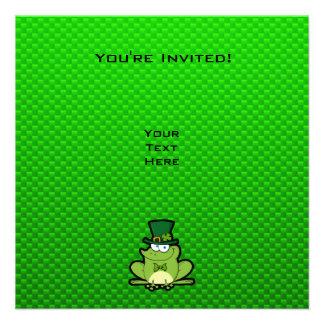 Green Irish Frog Custom Invites