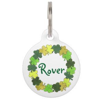 Green Irish Green Shamrock Clover Luck Pet Dog Tag