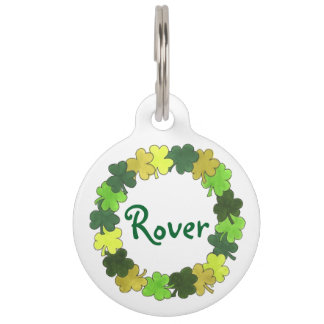 Green Irish Green Shamrock Clover Luck Pet Dog Tag Pet ID Tag