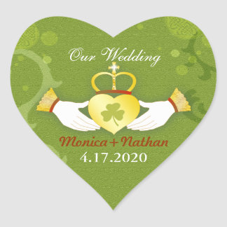 Green Irish Heart Shape Wedding Invitation Heart Sticker