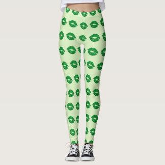 Green Irish Kiss Lipstick Pattern St Paddy's Day Leggings