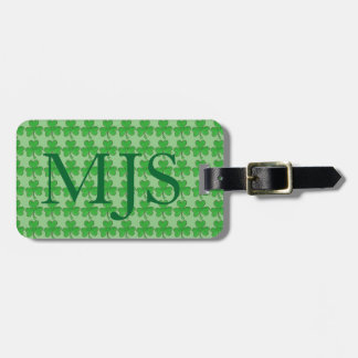Green Irish Lucky Shamrock Clover Monogram Bag Tag