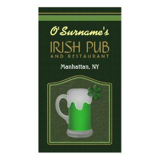 Green Irish Pub Manager Bar Tender Business Cards
